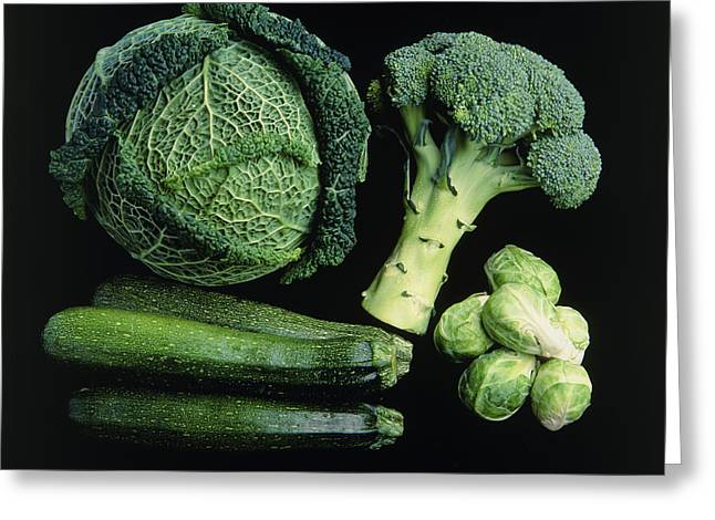 Green Vegetable Selection Greeting Card by Damien Lovegrove