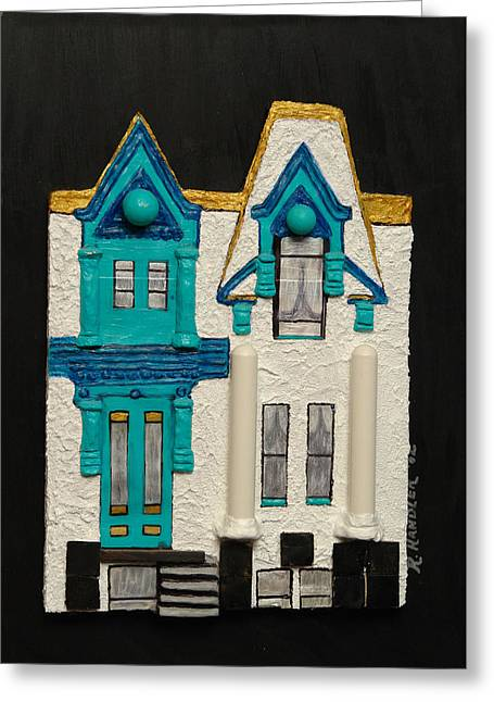 Green Victorian Mansion-montreal Greeting Card