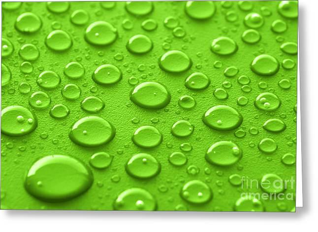 Green Water Drops Greeting Card