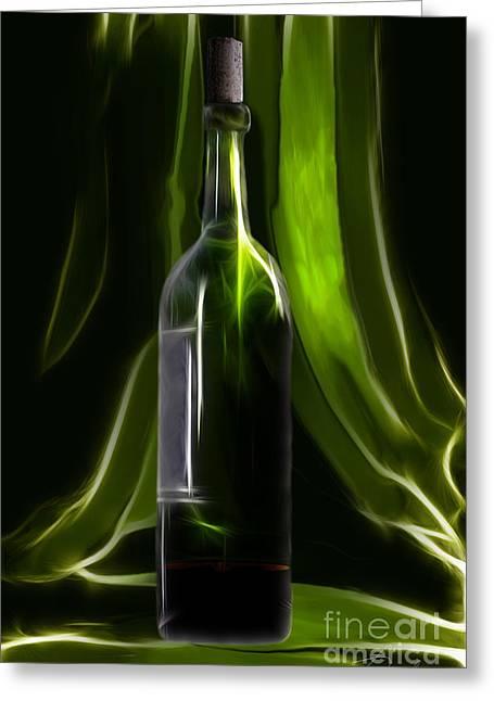 Green Wine Bottle Greeting Card by Danuta Bennett