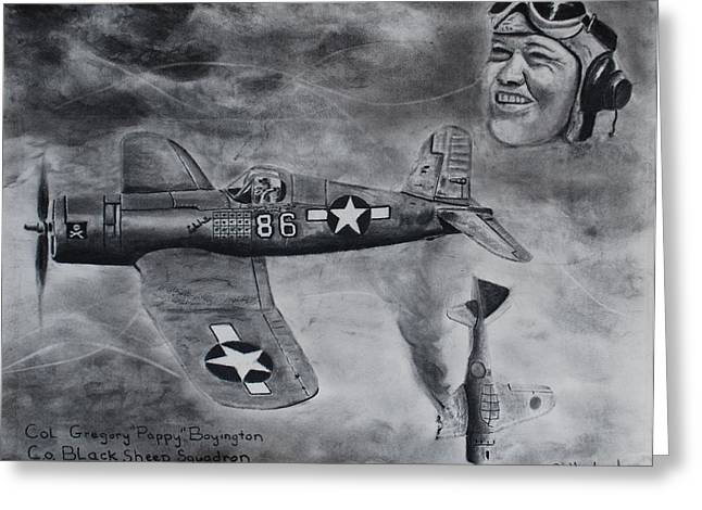 Gregory Pappy Boyington Greeting Card by Brian Hustead