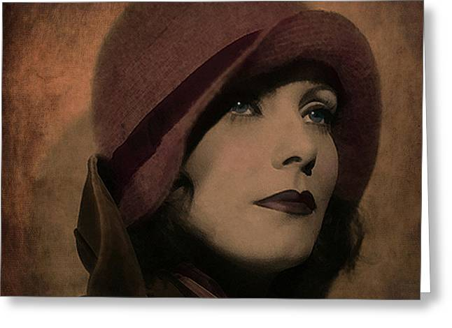 Greta Garbo Greeting Card by Marie  Gale
