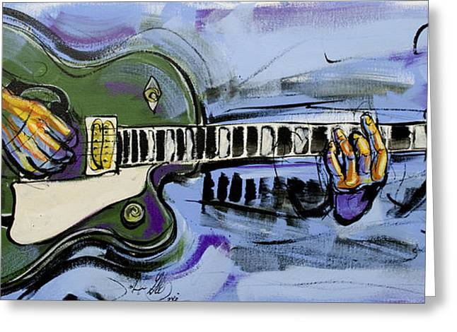 Greeting Card featuring the painting Gretsch Guitar by John Gibbs
