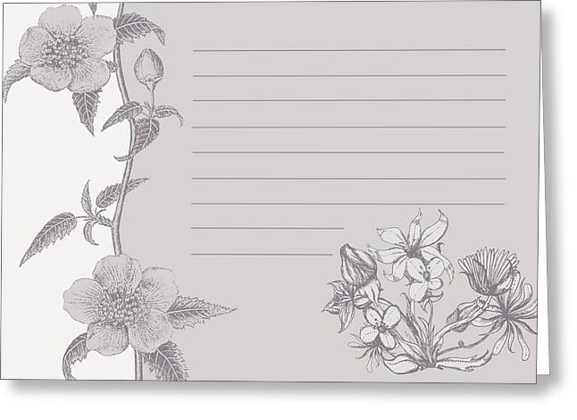 Grey Floral Card Greeting Card by Dana Vogel