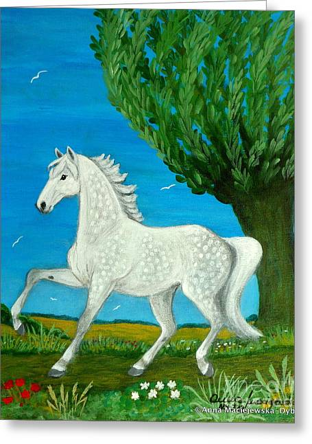 Grey Horse Greeting Card by Anna Folkartanna Maciejewska-Dyba