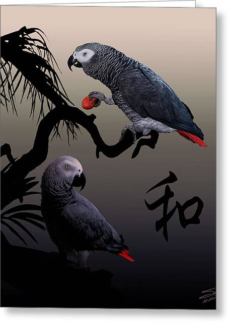 Grey Parrot Harmony Greeting Card by IM Spadecaller