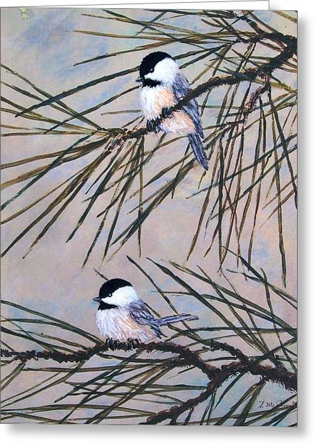 Grey Pine Chickadees Greeting Card by Kathleen McDermott