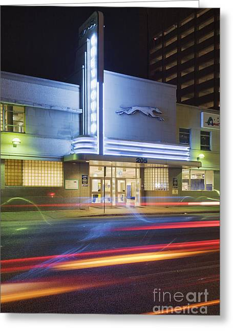 Greyhound Bus Station Greeting Card by Jeremy Woodhouse