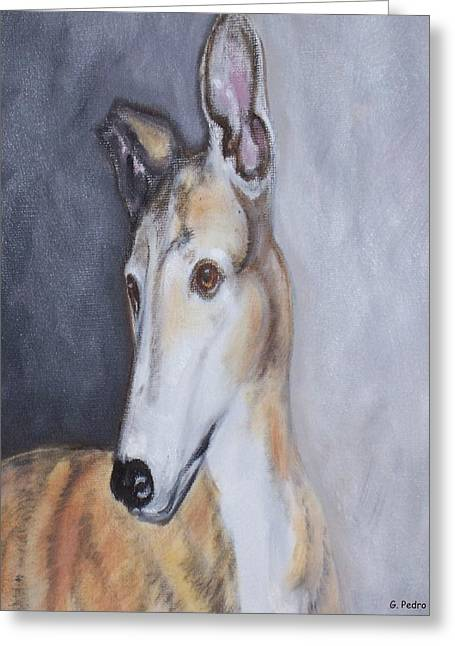 Greeting Card featuring the painting Greyhound In Thought by George Pedro