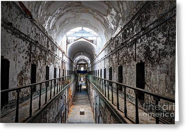 Grim Cell Block In Philadelphia Eastern State Penitentiary Greeting Card