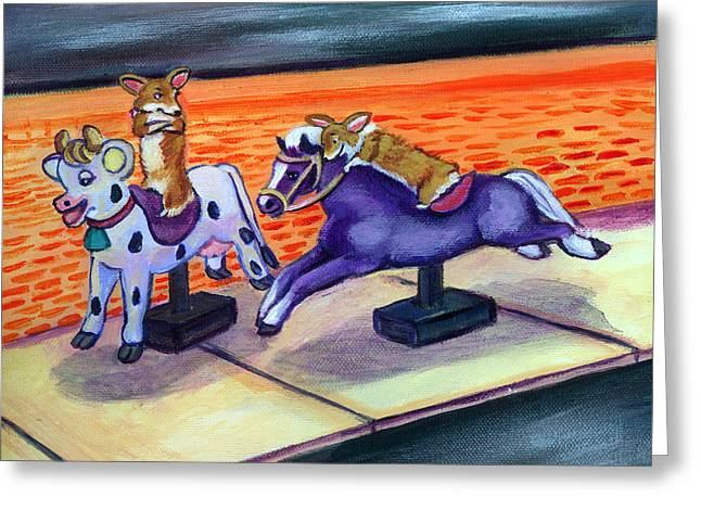 Grocery Store Corgi Rides Greeting Card by Lyn Cook