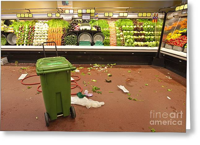 Grocery Store Produce Aisle After Hours Greeting Card by David Buffington