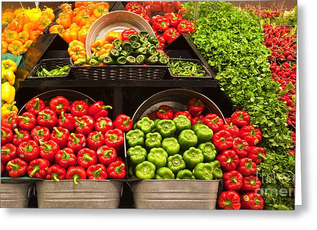 Grocery Store Produce Aisle Greeting Card by David Buffington