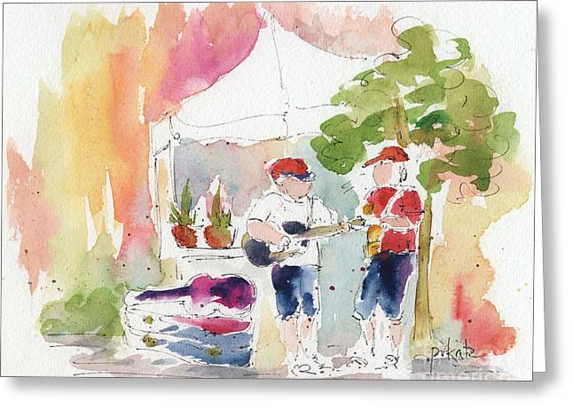 Groovin' At The Market Greeting Card by Pat Katz