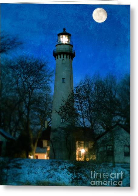 Grosse Point Lighthouse Before Dawn Greeting Card by Jill Battaglia