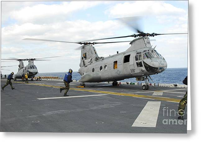 Ground Crew Prepares Ch-46e Sea Knight Greeting Card by Stocktrek Images