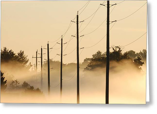 Ground Fog With High Wires Greeting Card by Bruce Kenny