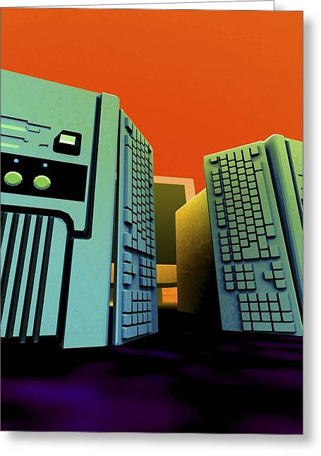 Group Of Personal Computers, Artwork Greeting Card by Christian Darkin