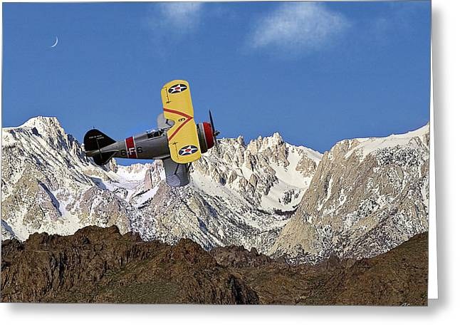 Grummon F3f Navy Fighter Over Mount Whitney Greeting Card by Endre Balogh