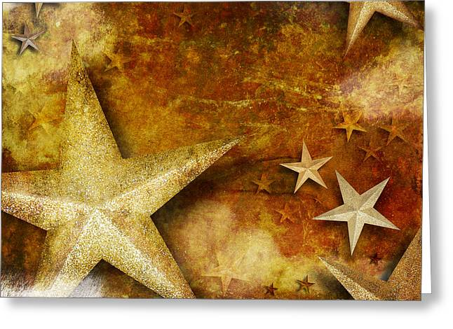 Grunge Golden Sparkle Star Background Greeting Card by Angela Waye
