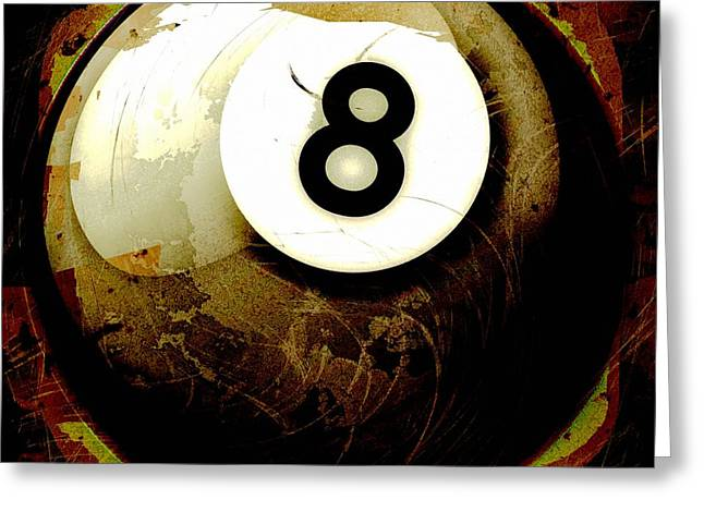 Grunge Style 8 Ball Greeting Card by David G Paul