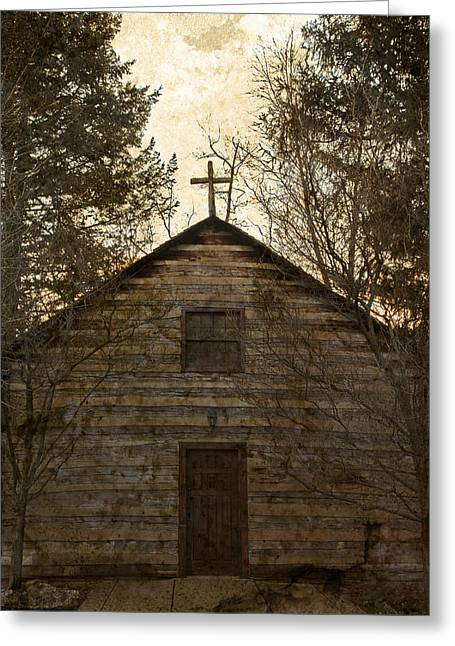 Grungy Hand Hewn Log Chapel Greeting Card by John Stephens