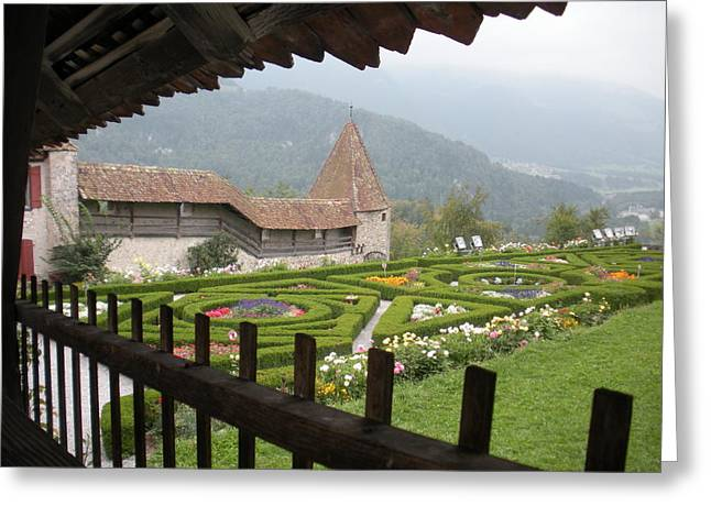 Gruyeres Garden Thru Ramparts Greeting Card