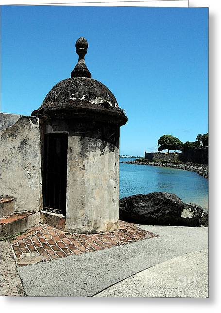 Guard Post Castillo San Felipe Del Morro San Juan Puerto Rico Watercolor Greeting Card by Shawn O'Brien