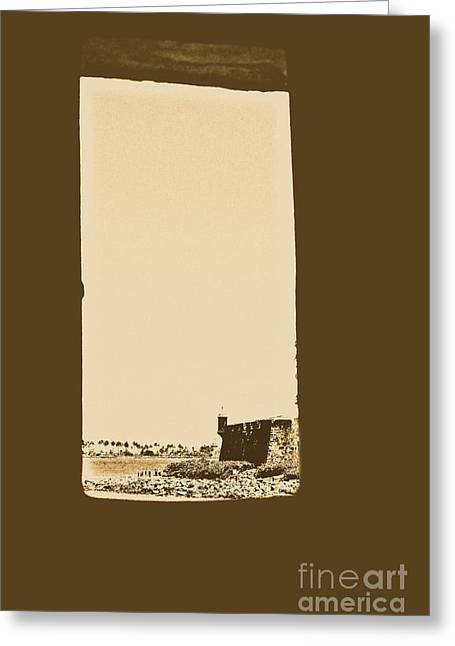 Guard Tower View Castillo San Felipe Del Morro San Juan Puerto Rico Rustic Greeting Card