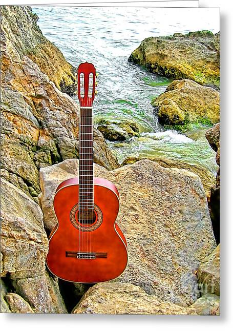 Guitar By The Sea Greeting Card by Jason Abando