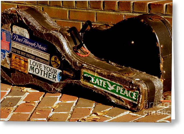 Guitar Case Messages Greeting Card by Lainie Wrightson