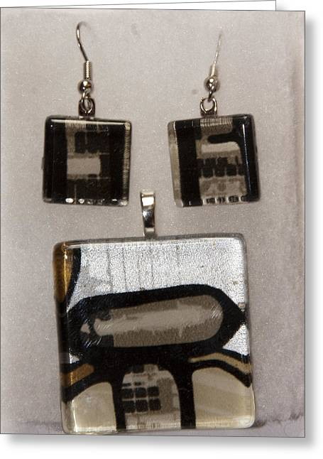 Greeting Card featuring the jewelry Guitar Glass Tile Set by Darleen Stry