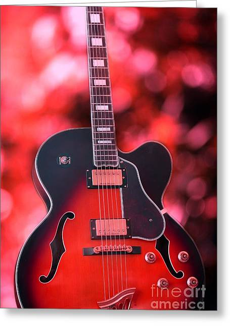 Guitar In Red Greeting Card by Sophie Vigneault