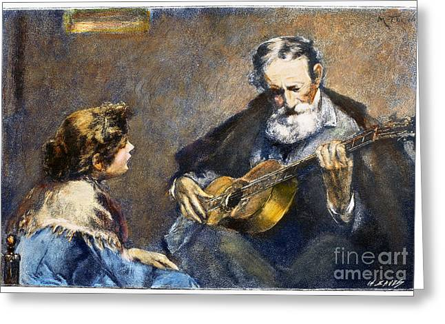 Guitar Player Greeting Card by Granger