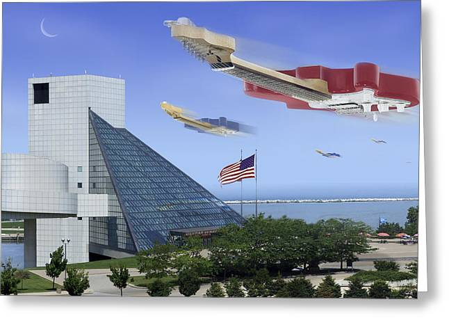 Guitar Wars At The Rock Hall Greeting Card by Mike McGlothlen