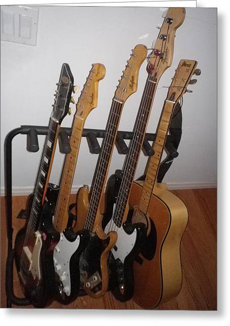 Guitars Greeting Card by Michael Titherington