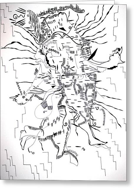 Greeting Card featuring the drawing Gule Wamkulu - Malawi by Gloria Ssali