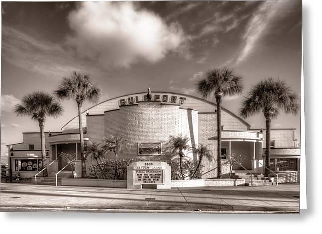Gulfport Casino In Sepia Greeting Card by Tammy Wetzel