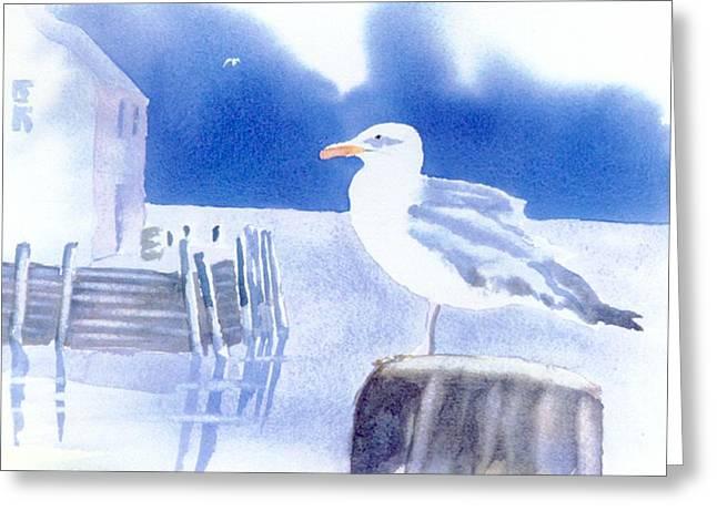Gull Watch Greeting Card by Joseph Gallant