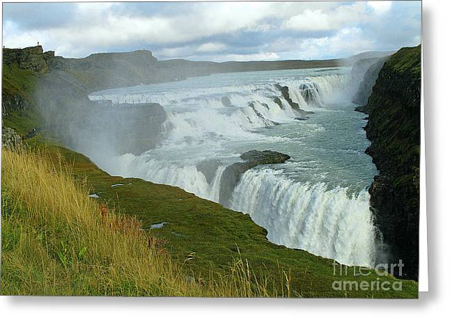 Gullfoss Waterfalls  Iceland Greeting Card by Louise Peardon
