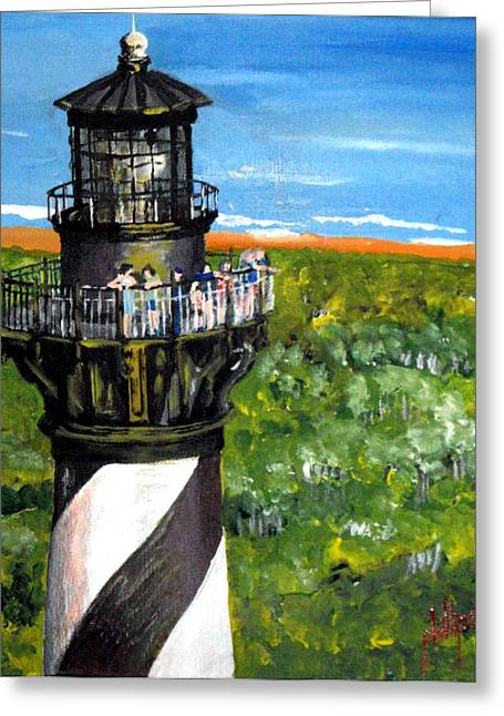 Greeting Card featuring the painting Gull's View Of Hatteras by Jim Phillips