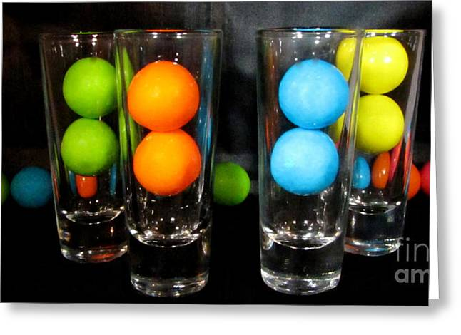 Gumballs In Shot Glasses Greeting Card
