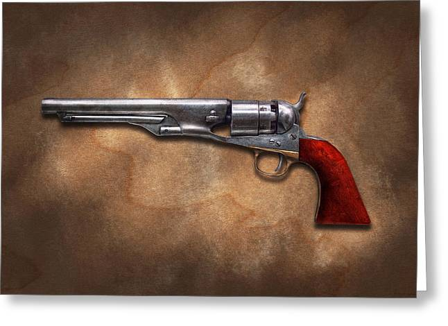 Gun - Model 1860 Colt Army Revolver Greeting Card by Mike Savad