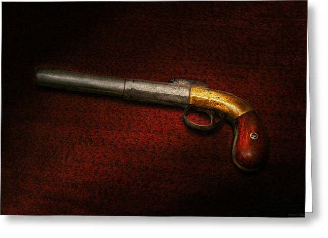 Gun - The Shooting Iron Greeting Card by Mike Savad
