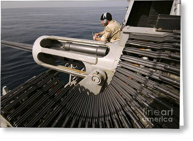 Gunner Manning A Mk-38 25mm Heavy Greeting Card by Stocktrek Images