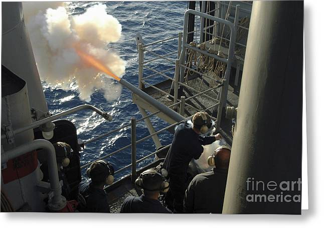 Gunners Mates Fire The .40mm Saluting Greeting Card by Stocktrek Images