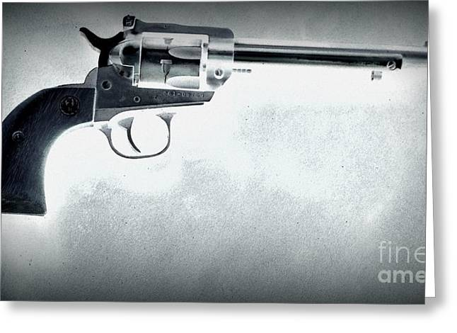 Greeting Card featuring the photograph Guns And Leather 3 by Deniece Platt