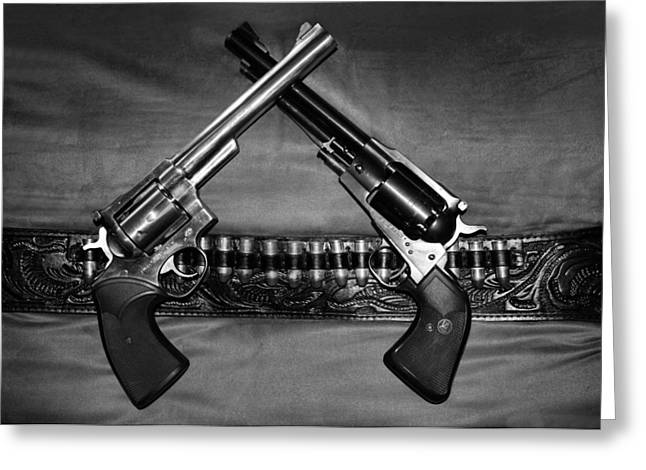 Guns In Black And White Greeting Card by Kristin Elmquist