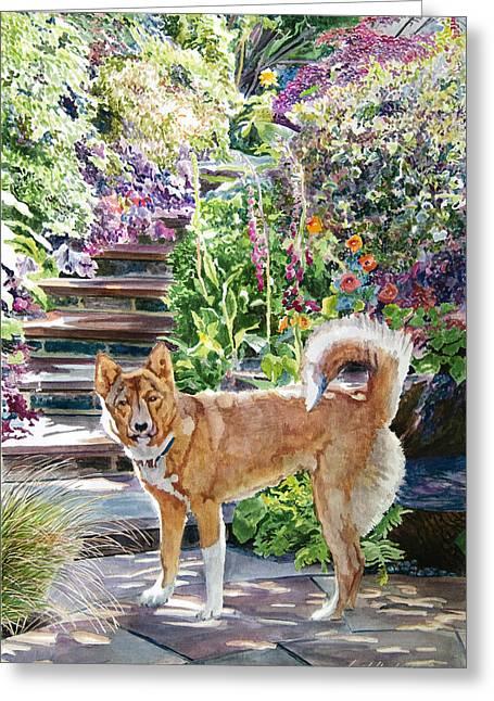 Hachiko In The Garden Greeting Card by David Lloyd Glover