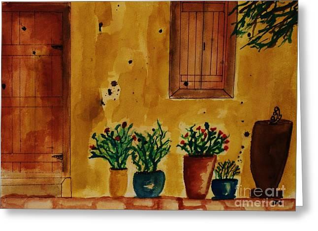Hacienda Greeting Card by Marsha Heiken